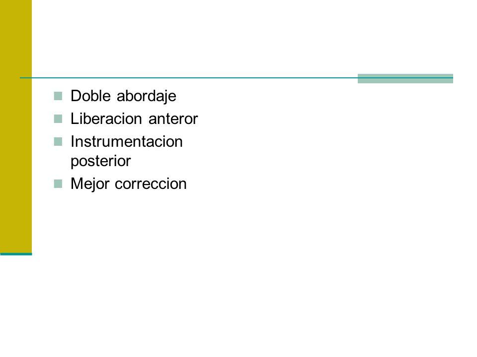 Doble abordaje Liberacion anteror Instrumentacion posterior Mejor correccion