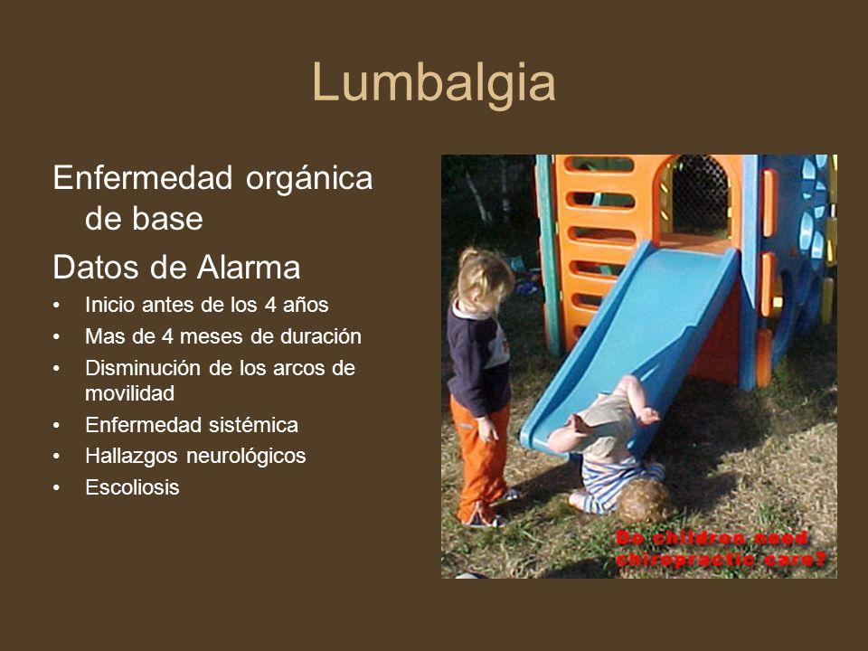 Lumbalgia Enfermedad orgánica de base Datos de Alarma