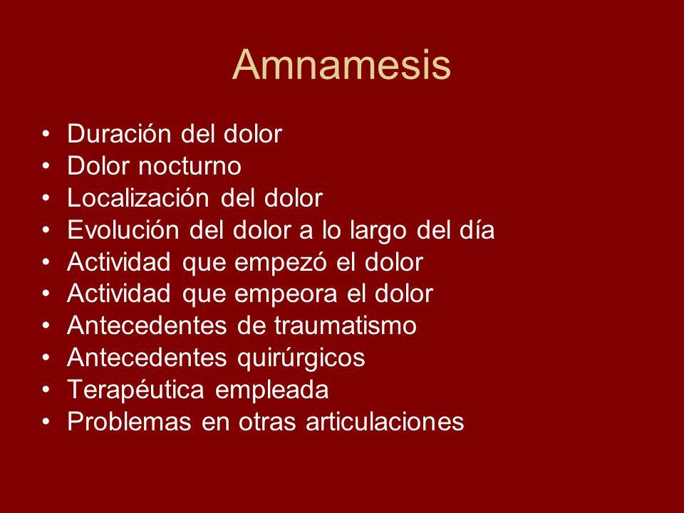 Amnamesis Duración del dolor Dolor nocturno Localización del dolor
