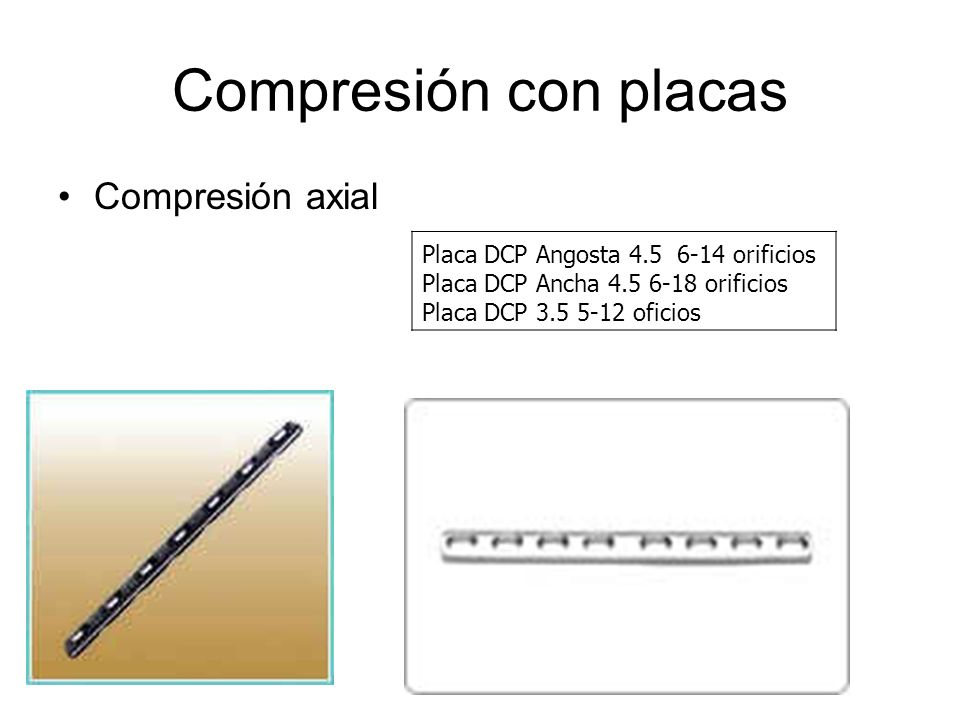 Compresión con placas Compresión axial