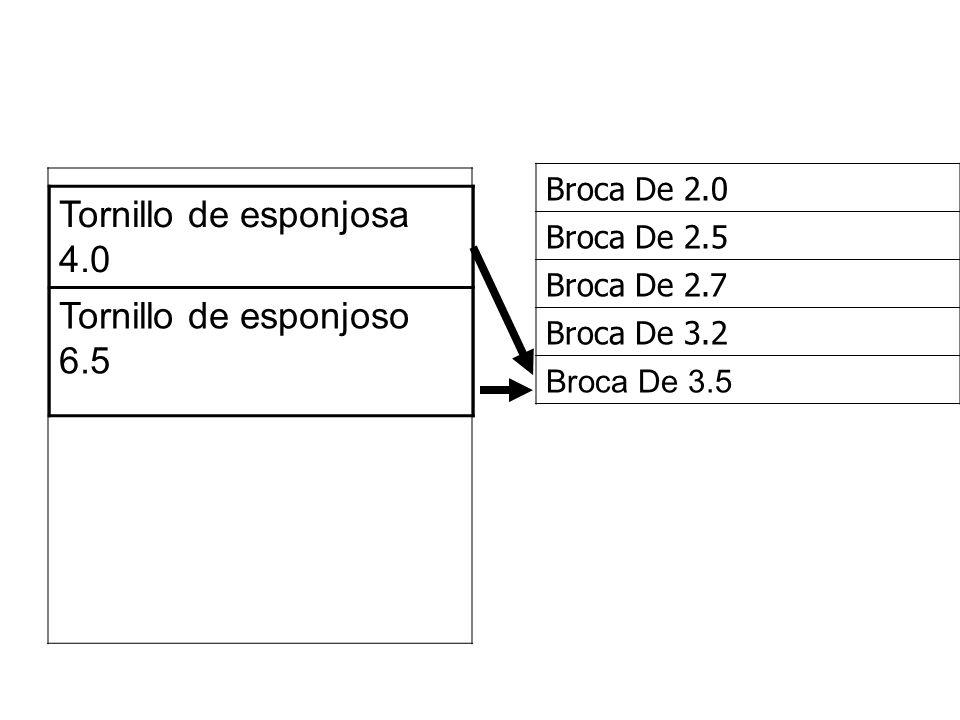 Tornillo de esponjosa 4.0 Tornillo de esponjoso 6.5 Broca De 2.0