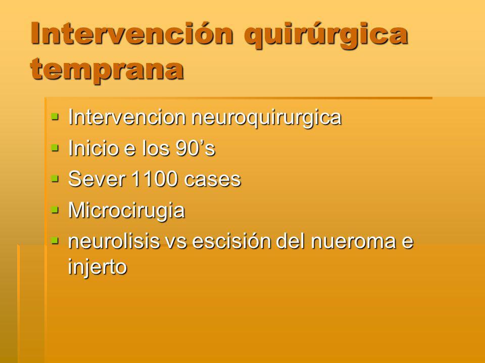 Intervención quirúrgica temprana