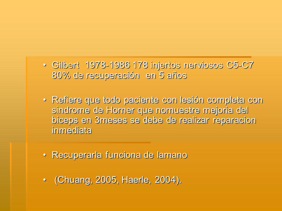Gilbert 1978-1986 178 injertos nerviosos C5-C7 80% de recuperación en 5 años