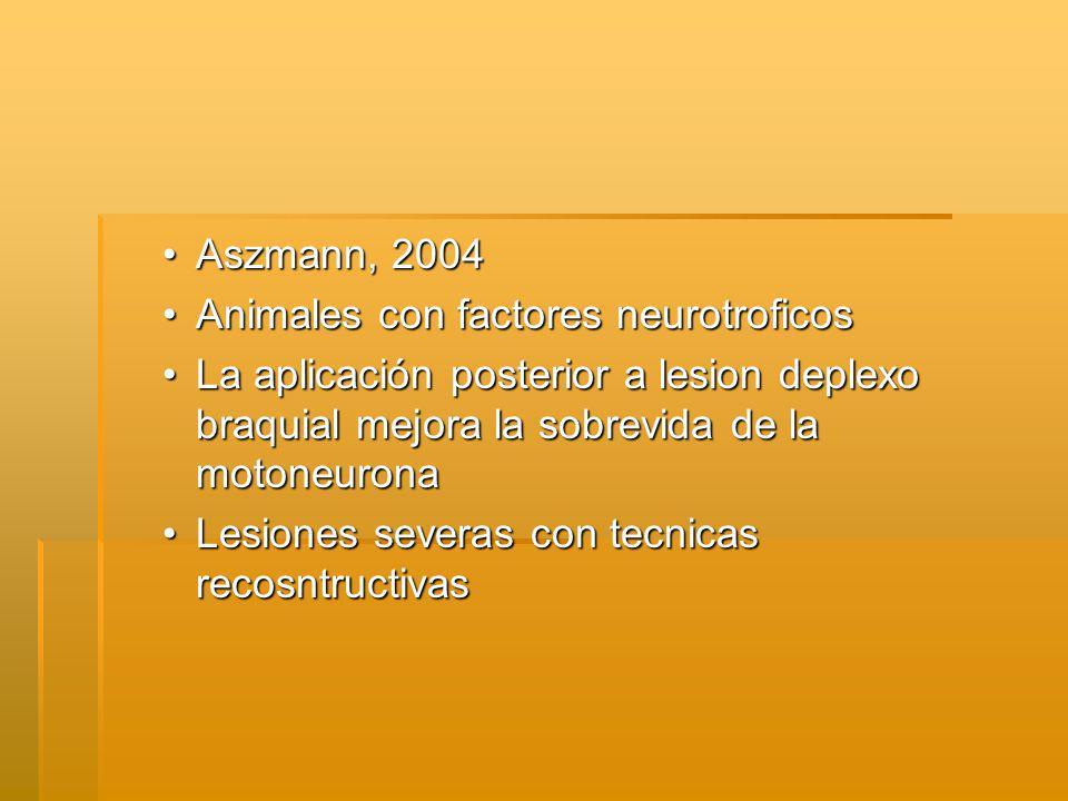 Aszmann, 2004 Animales con factores neurotroficos. La aplicación posterior a lesion deplexo braquial mejora la sobrevida de la motoneurona.