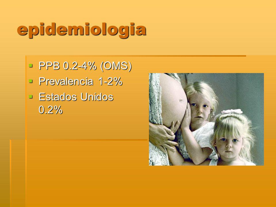 epidemiologia PPB 0.2-4% (OMS) Prevalencia 1-2% Estados Unidos 0.2%