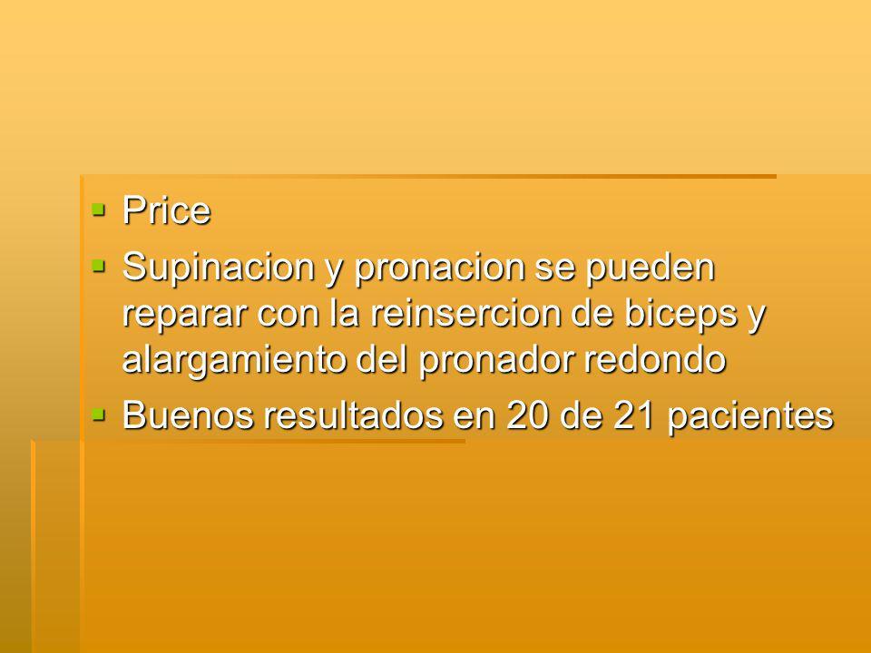 Price Supinacion y pronacion se pueden reparar con la reinsercion de biceps y alargamiento del pronador redondo.