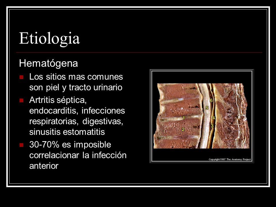 Etiologia Hematógena Los sitios mas comunes son piel y tracto urinario