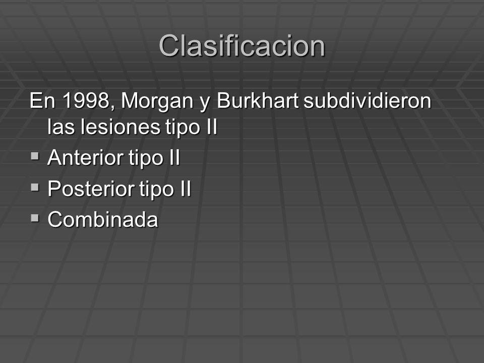 Clasificacion En 1998, Morgan y Burkhart subdividieron las lesiones tipo II. Anterior tipo II. Posterior tipo II.