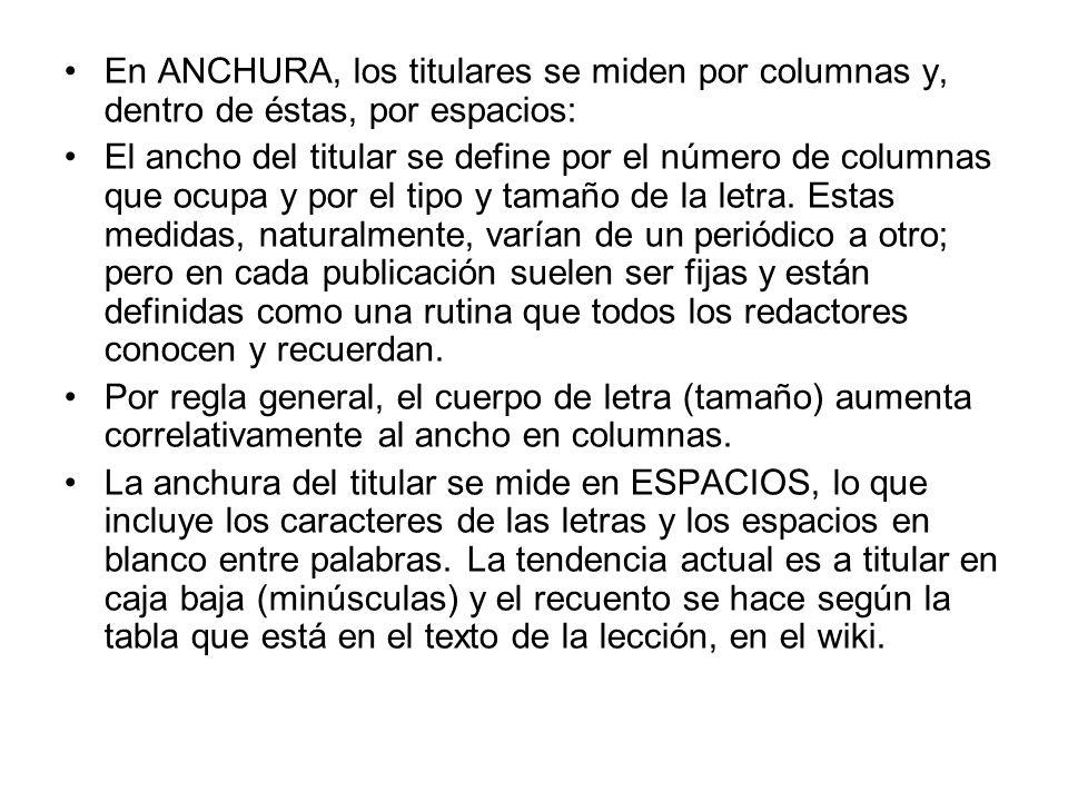 En ANCHURA, los titulares se miden por columnas y, dentro de éstas, por espacios: