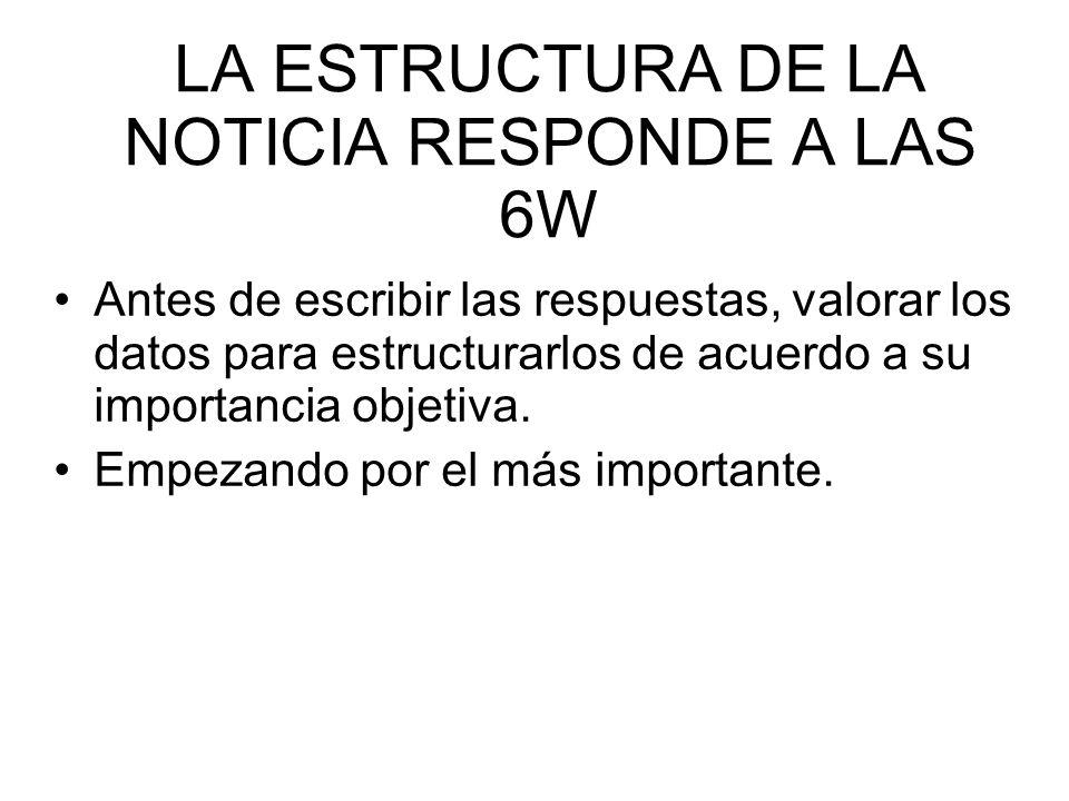 LA ESTRUCTURA DE LA NOTICIA RESPONDE A LAS 6W