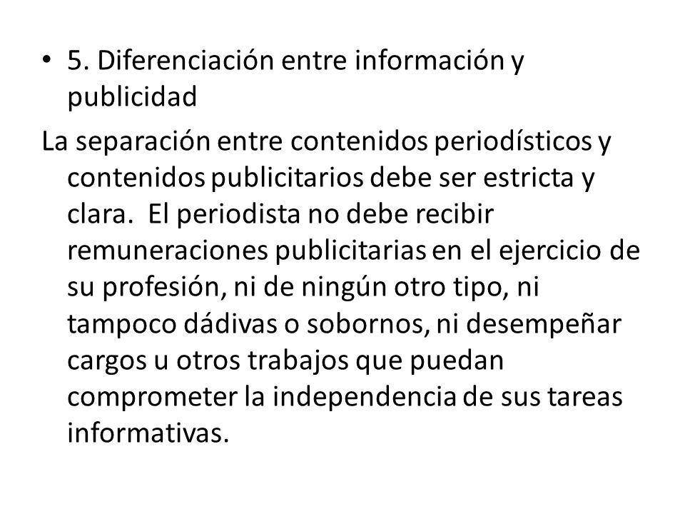 5. Diferenciación entre información y publicidad