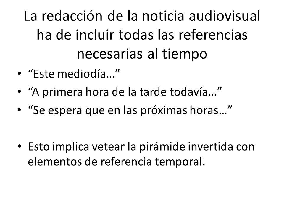 La redacción de la noticia audiovisual ha de incluir todas las referencias necesarias al tiempo