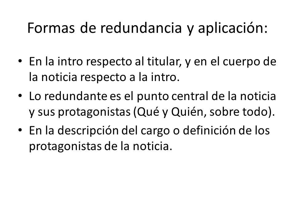 Formas de redundancia y aplicación: