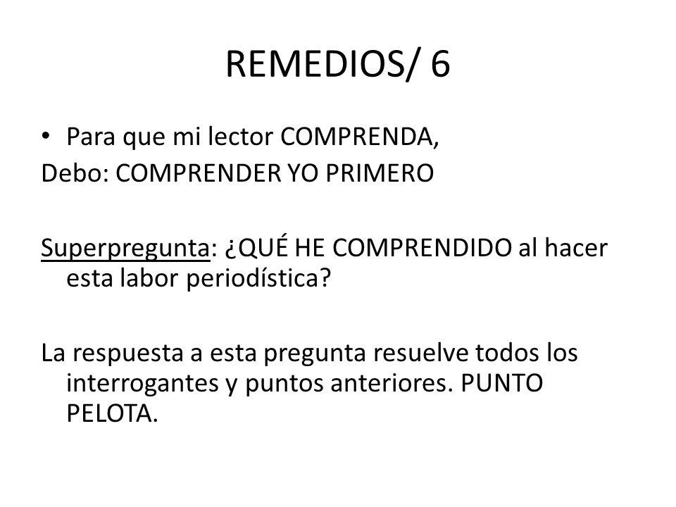 REMEDIOS/ 6 Para que mi lector COMPRENDA, Debo: COMPRENDER YO PRIMERO