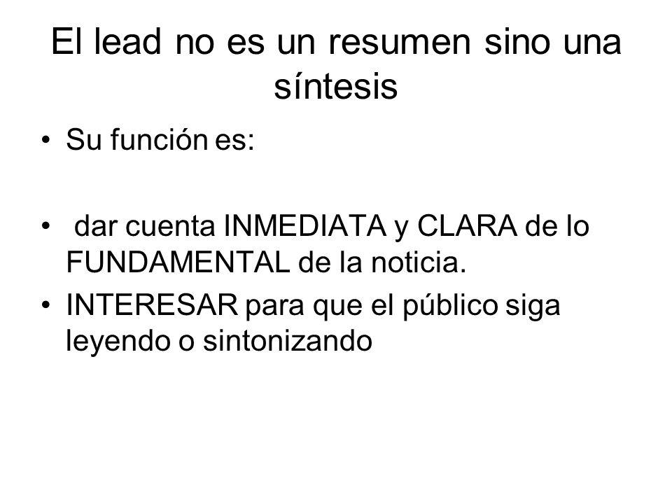 El lead no es un resumen sino una síntesis