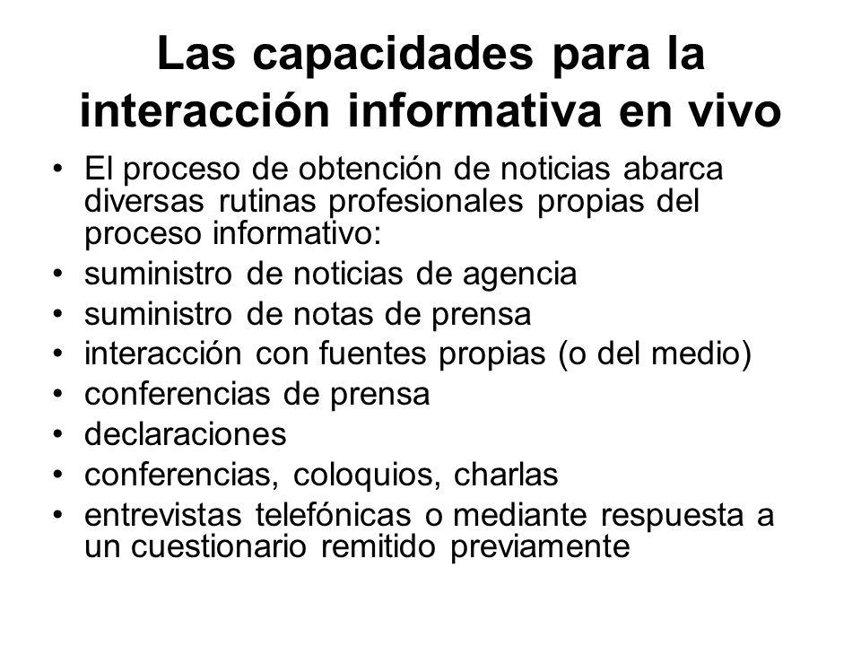 Las capacidades para la interacción informativa en vivo
