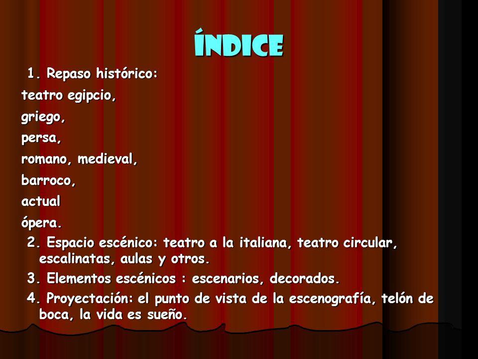ÍNDICE 1. Repaso histórico: teatro egipcio, griego, persa,