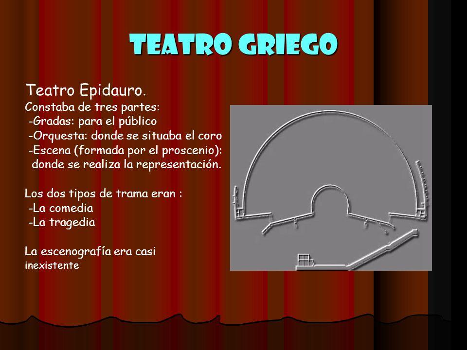 Teatro griego Teatro Epidauro. Constaba de tres partes: