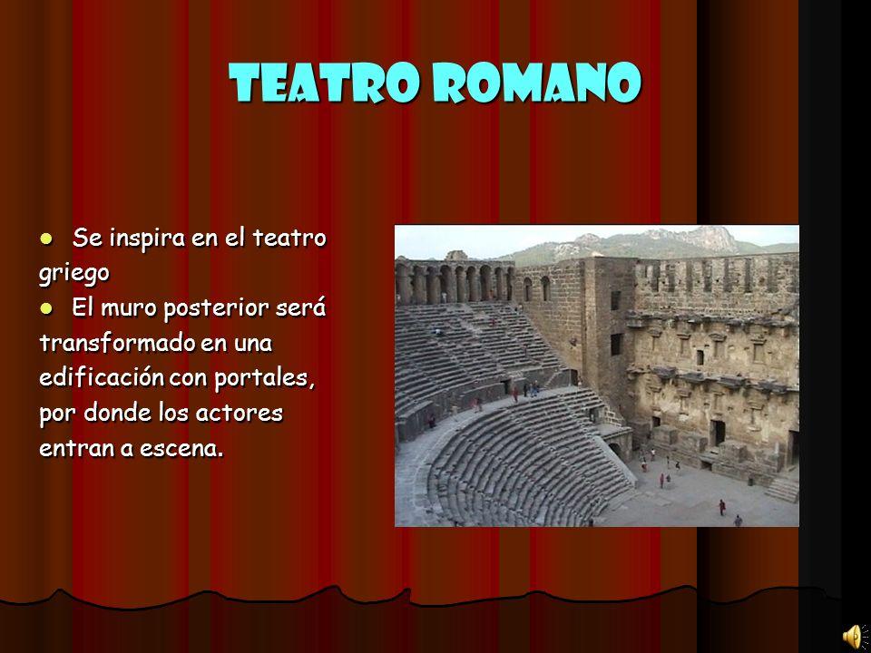 Teatro Romano Se inspira en el teatro griego El muro posterior será