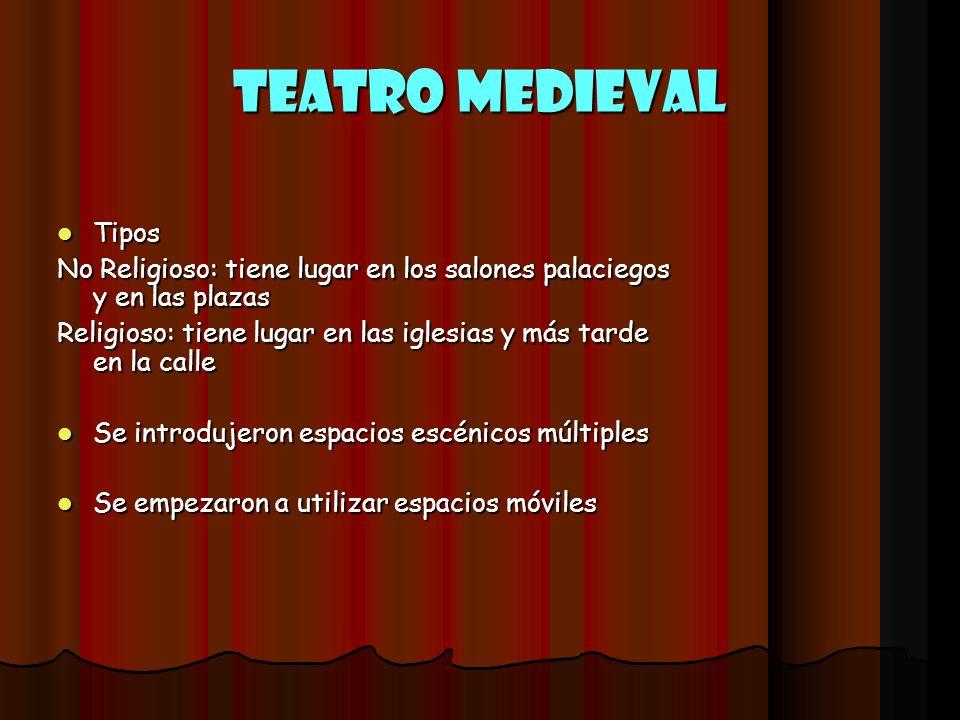 Teatro Medieval Tipos. No Religioso: tiene lugar en los salones palaciegos y en las plazas.