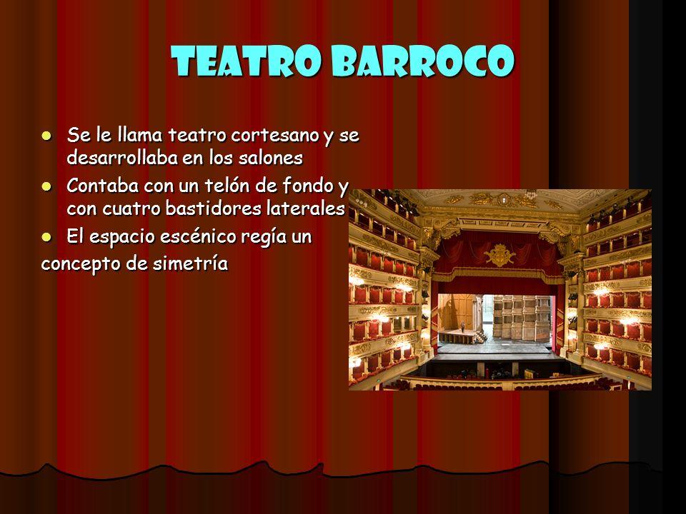 Teatro Barroco Se le llama teatro cortesano y se desarrollaba en los salones. Contaba con un telón de fondo y con cuatro bastidores laterales.
