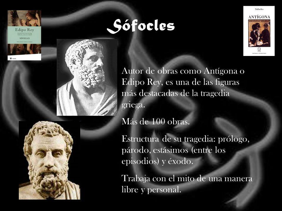 SófoclesAutor de obras como Antígona o Edipo Rey, es una de las figuras más destacadas de la tragedia griega.