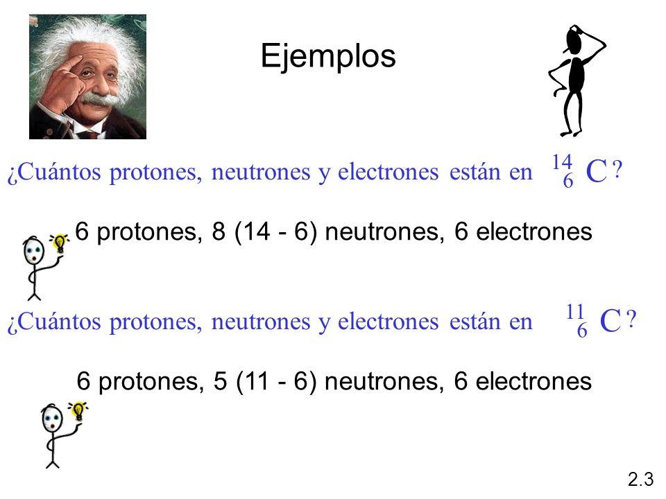 Ejemplos C C ¿Cuántos protones, neutrones y electrones están en