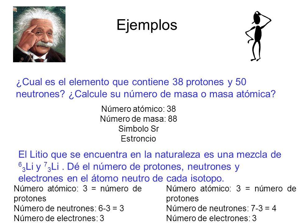 Ejemplos ¿Cual es el elemento que contiene 38 protones y 50 neutrones ¿Calcule su número de masa o masa atómica
