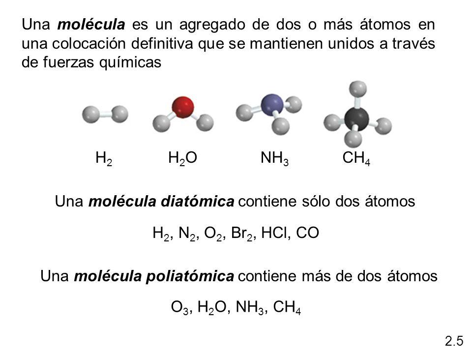 Una molécula diatómica contiene sólo dos átomos