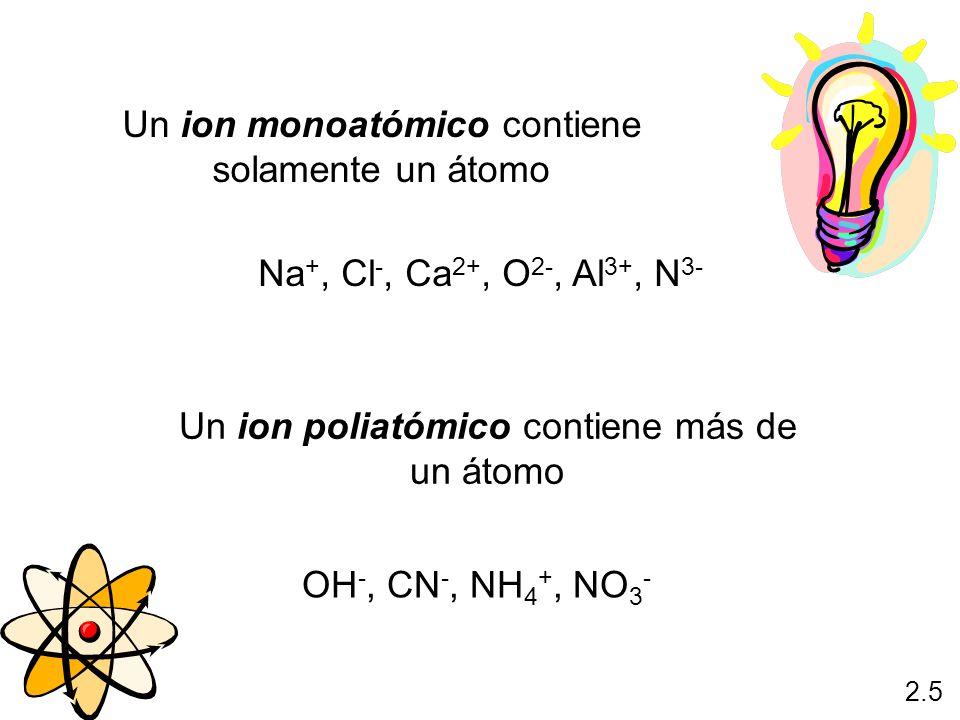 Un ion monoatómico contiene solamente un átomo