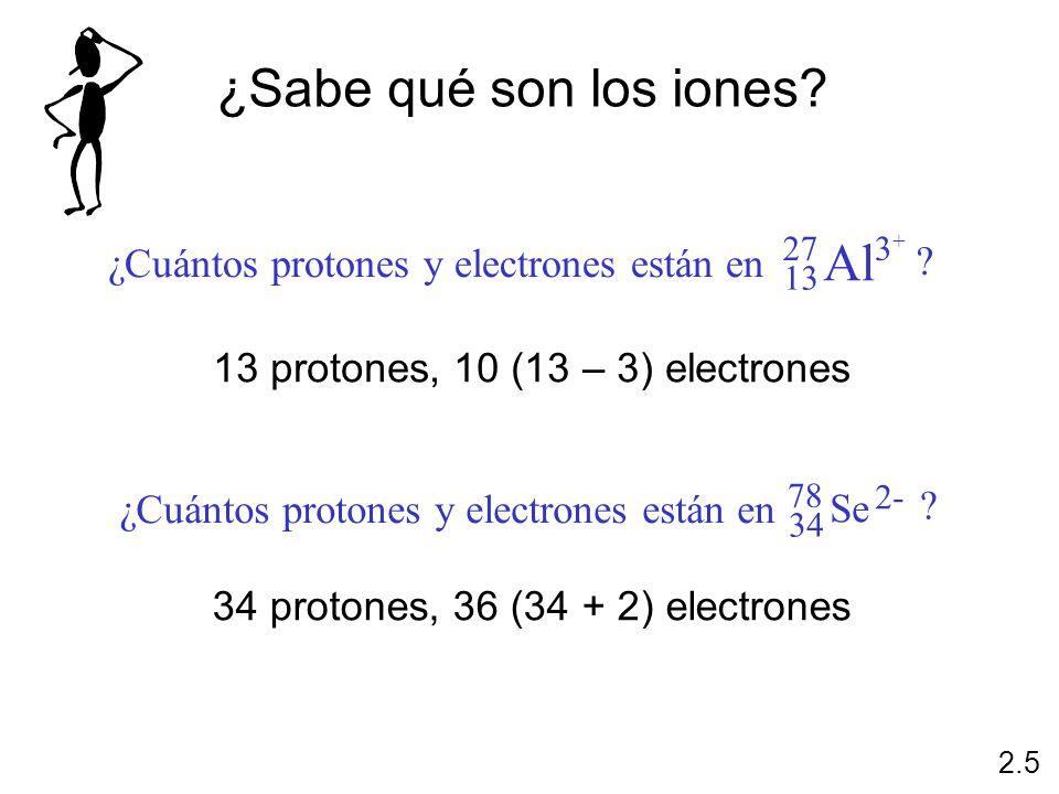 ¿Sabe qué son los iones Al ¿Cuántos protones y electrones están en