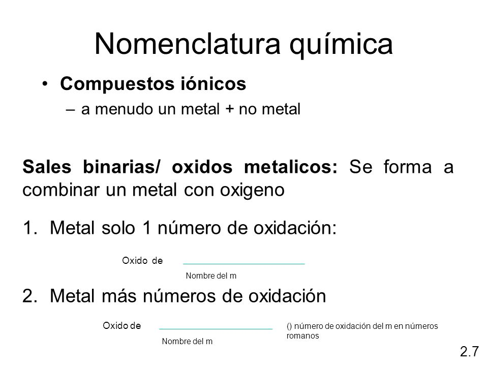 Nomenclatura química Compuestos iónicos