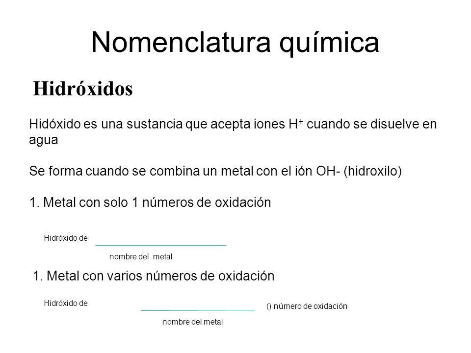Nomenclatura química Hidróxidos