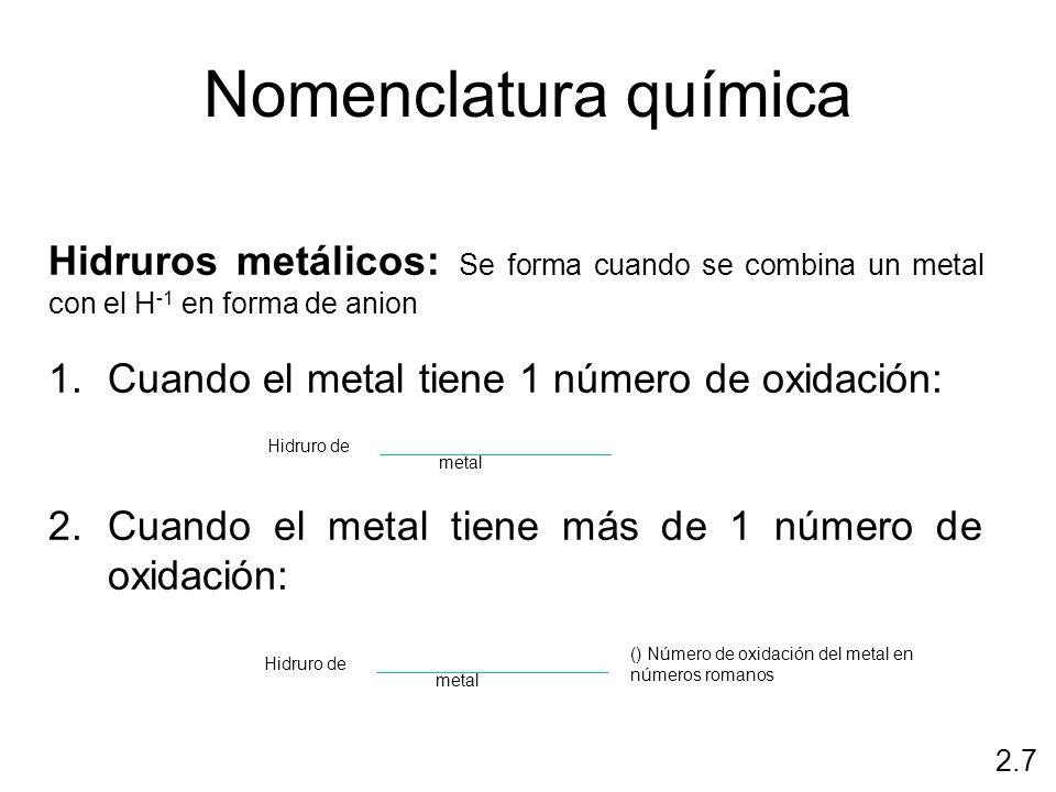 Nomenclatura químicaHidruros metálicos: Se forma cuando se combina un metal con el H-1 en forma de anion.