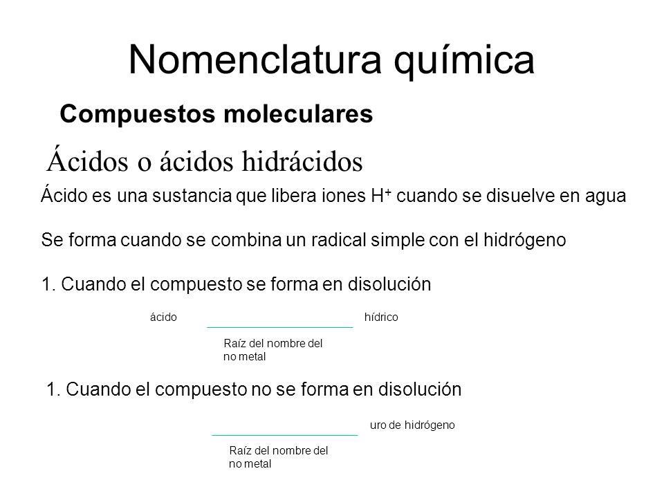 Ácidos o ácidos hidrácidos