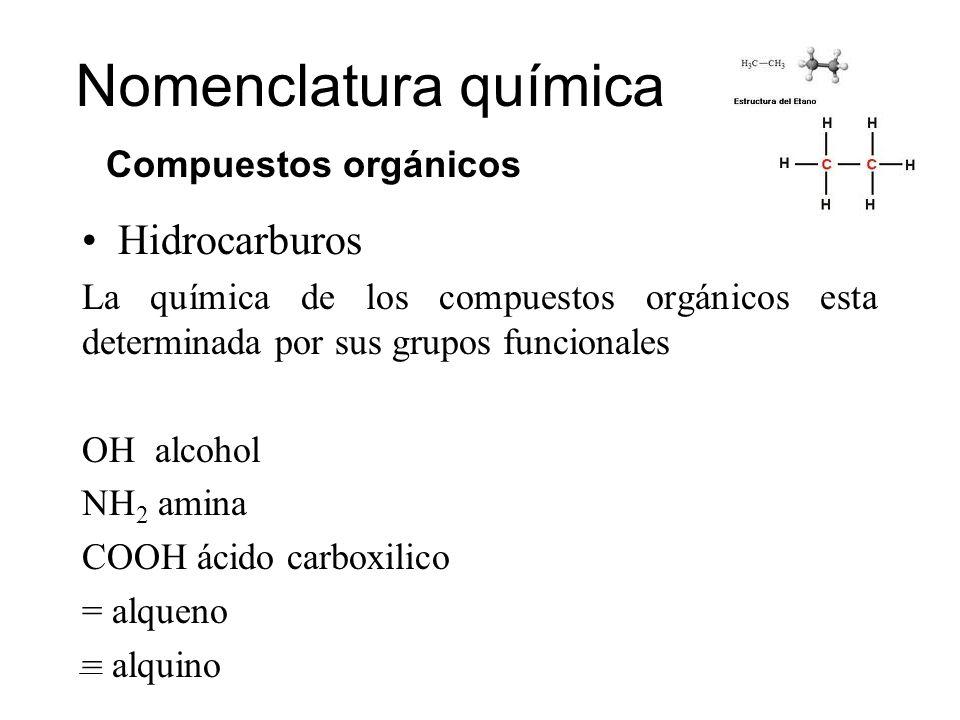 Nomenclatura química Hidrocarburos Compuestos orgánicos