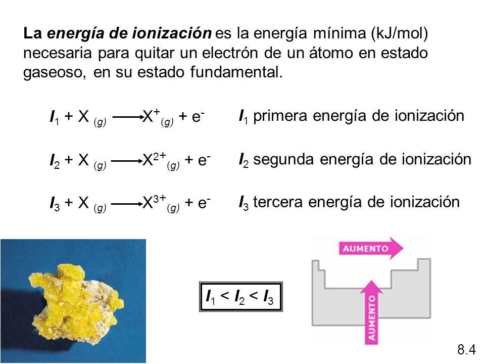 I1 primera energía de ionización