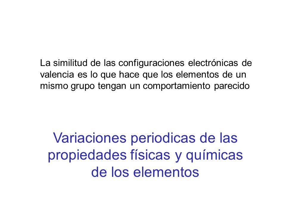 La similitud de las configuraciones electrónicas de valencia es lo que hace que los elementos de un mismo grupo tengan un comportamiento parecido