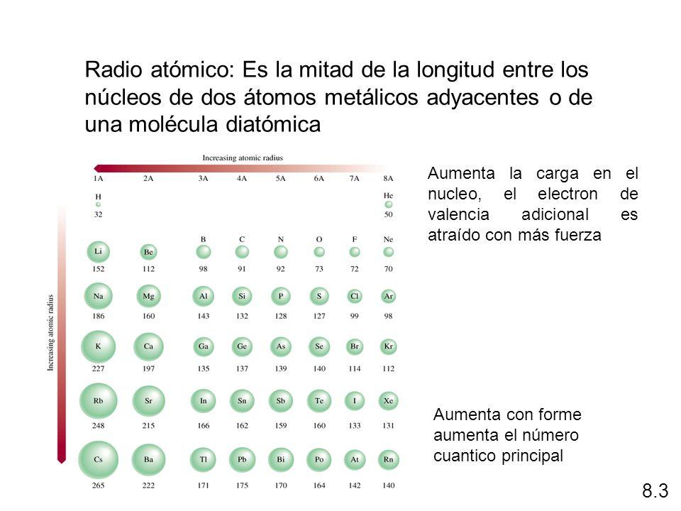 Radio atómico: Es la mitad de la longitud entre los núcleos de dos átomos metálicos adyacentes o de una molécula diatómica