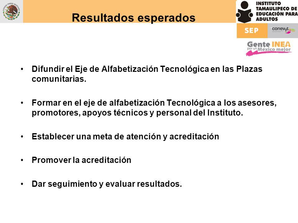 Resultados esperadosDifundir el Eje de Alfabetización Tecnológica en las Plazas comunitarias.