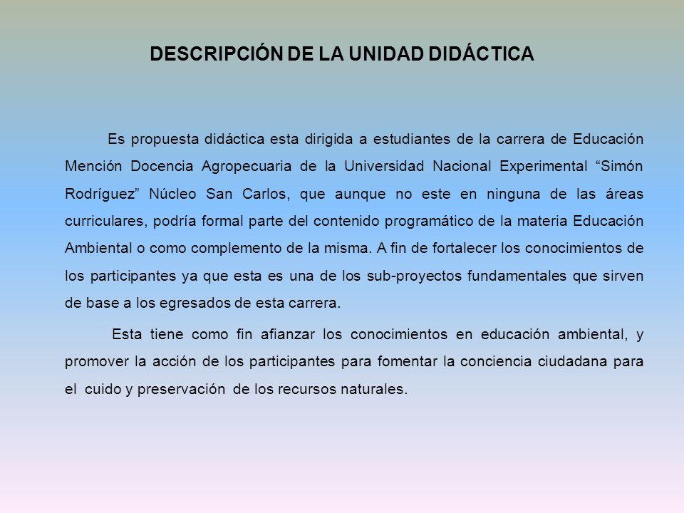 DESCRIPCIÓN DE LA UNIDAD DIDÁCTICA