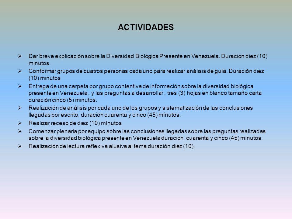 ACTIVIDADES Dar breve explicación sobre la Diversidad Biológica Presente en Venezuela. Duración diez (10) minutos.