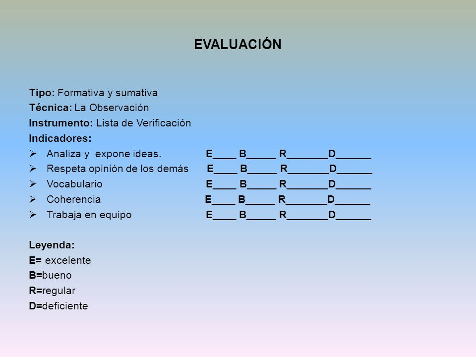 EVALUACIÓN Tipo: Formativa y sumativa Técnica: La Observación