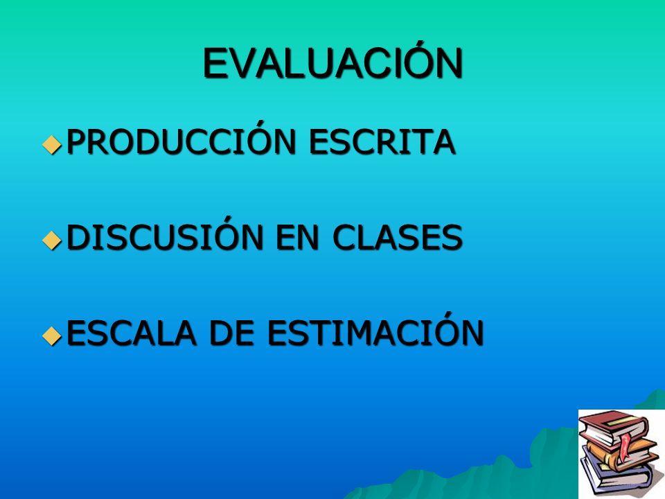 EVALUACIÓN PRODUCCIÓN ESCRITA DISCUSIÓN EN CLASES ESCALA DE ESTIMACIÓN