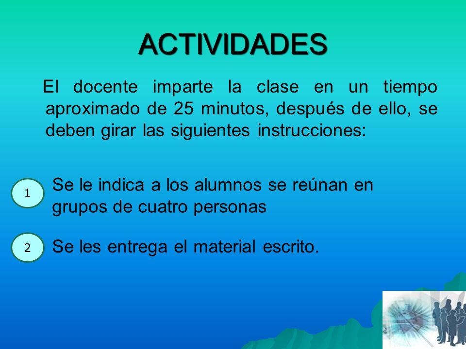 ACTIVIDADES El docente imparte la clase en un tiempo aproximado de 25 minutos, después de ello, se deben girar las siguientes instrucciones: