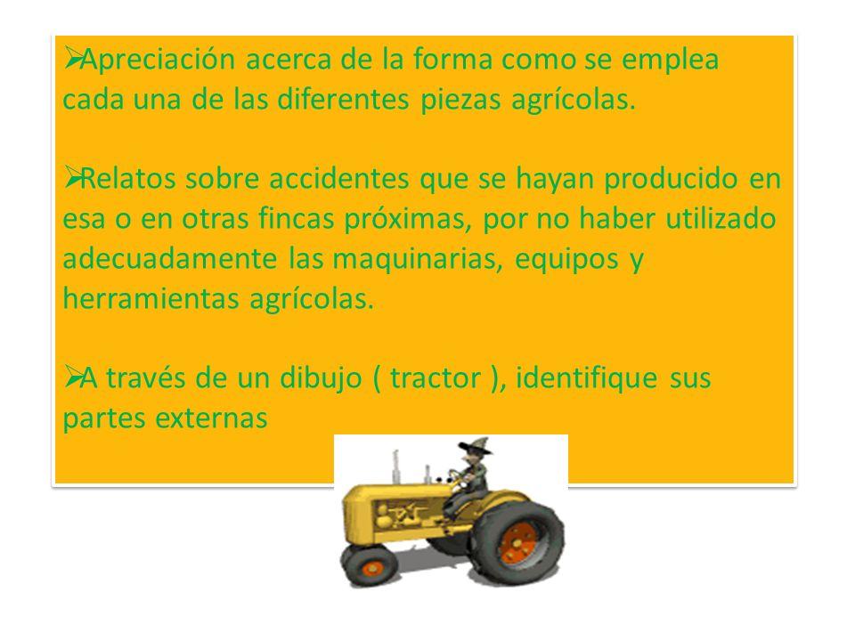 Apreciación acerca de la forma como se emplea cada una de las diferentes piezas agrícolas.