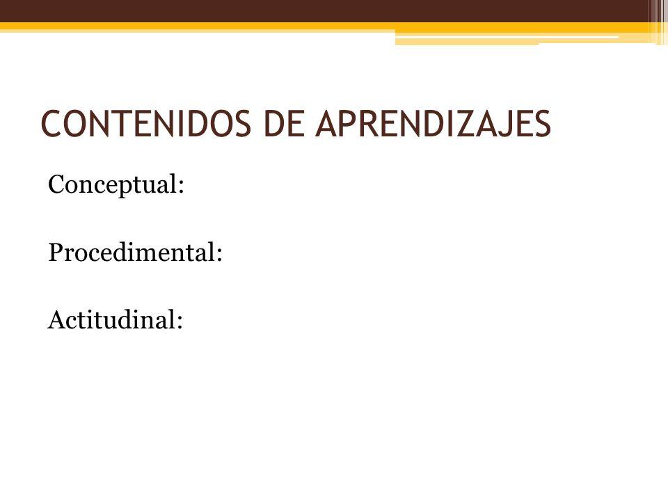 CONTENIDOS DE APRENDIZAJES