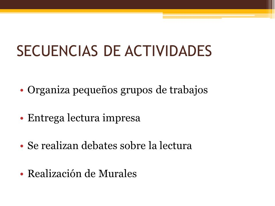 SECUENCIAS DE ACTIVIDADES