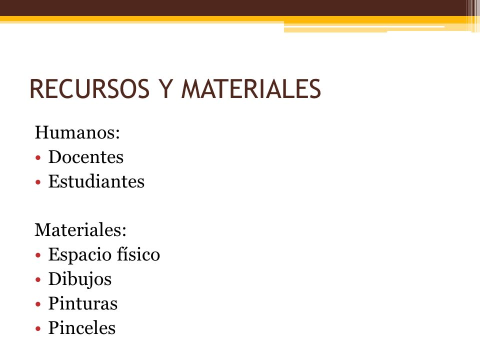RECURSOS Y MATERIALES Humanos: Docentes Estudiantes Materiales: