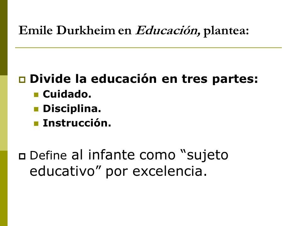 Emile Durkheim en Educación, plantea: